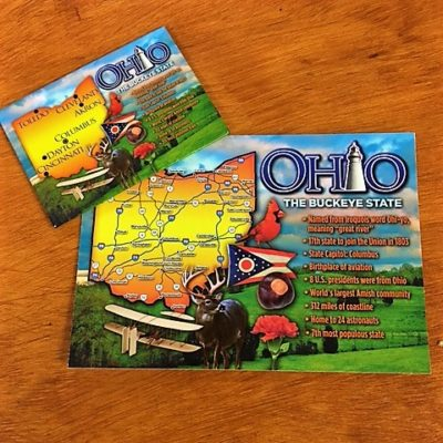 postcard ohio the buckeye state with magnet